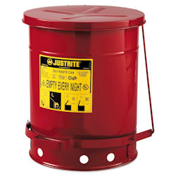 10-Gallon Oily Waste Can for General Use, Lever Lid, Red,  400-09300