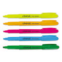 Pocket Highlighter, Chisel Tip, Fluorescent Colors, 5/Set