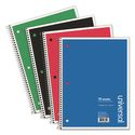 1 Subject Wirebound Notebook, 10.5 x 8, College Rule, 70 Sheets, Assorted, 4/PK